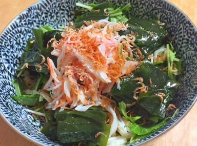 わかめと水菜のサラダ